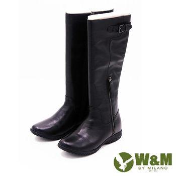 W&M 秋冬簡約率性長筒靴高筒靴 女鞋-黑(另有灰)