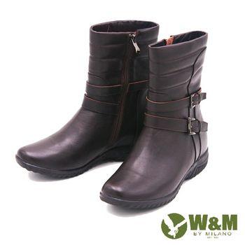 W&M 秋冬季英倫厚底短筒靴 女鞋-棕(另有黑)