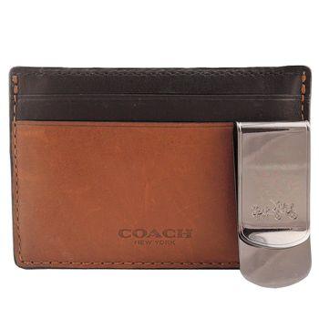 COACH 烙印LOGO撞色證件夾禮盒組(2色選)