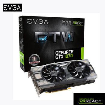 EVGA 艾維克 GTX1070 8GB FTW BP ACX3.0 顯示卡 (08G-P4-6276-KR )