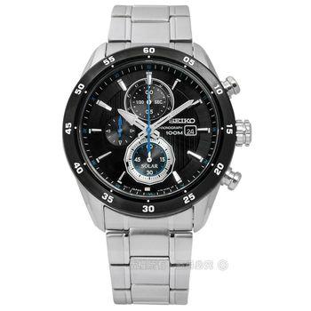 SEIKO 精工★贈皮錶帶 / V176-0AR0D.SSC531P1 / criteria 爵士內斂三環太陽能不鏽鋼手錶 黑色 43mm