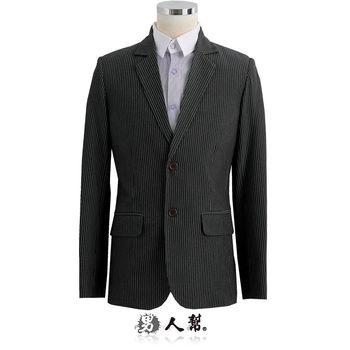 【男人幫】日型男窄版高磅數質感兩扣條紋西裝外套(C5307)