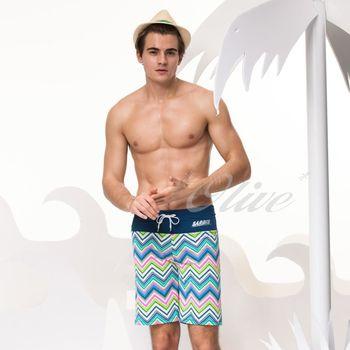 【沙兒斯品牌】率性曲線條紋大男海灘泳褲 NO.B55609