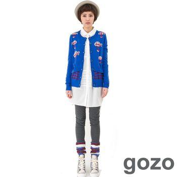 gozo 繽紛個性假兩件襪套內搭褲(深灰)