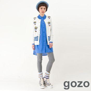 gozo 繽紛個性假兩件襪套內搭褲(淺灰)