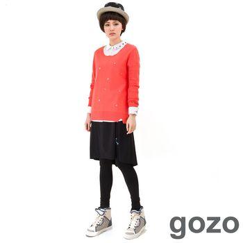 gozo 熱氣球裙擺假兩件式內搭褲 (黑色)