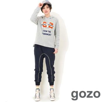 gozo 線條配色綁帶造型縮口棉褲 (深藍)
