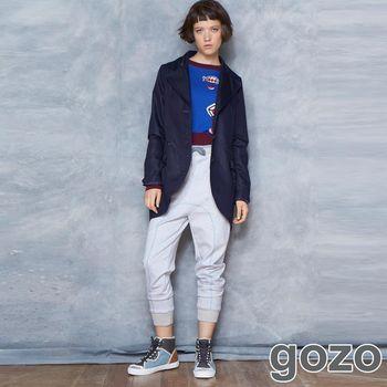 gozo 線條配色綁帶造型縮口棉褲(灰色)