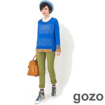 gozo 色彩車線造型牛仔窄管褲(綠色)