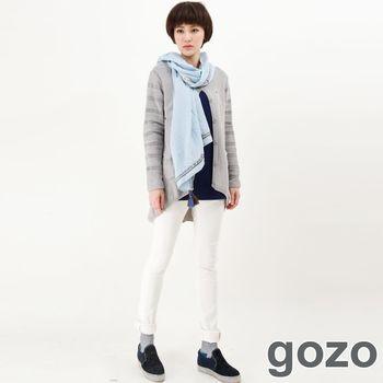 gozo 色彩車線造型牛仔窄管褲(白色)