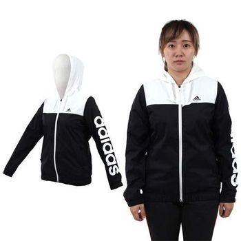 【ADIDAS】女連帽風衣外套-保暖 刷毛 防風 愛迪達 黑白