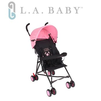 【美國 L.A. Baby】-亮彩輕便嬰兒手推車(浪漫粉)