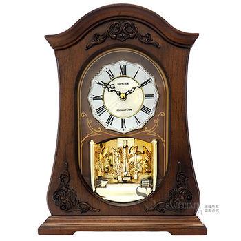 【RHYTHM日本麗聲】歐風古典貝殼鑲嵌整點報時座鐘
