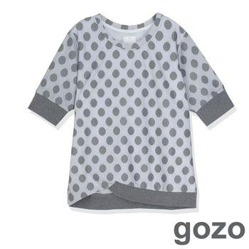 gozo 復古文青波卡點造型上衣(灰色)