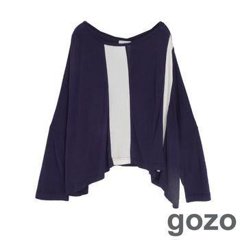 gozo 拼接造型垂墜感蝴蝶袖上衣(藍色)