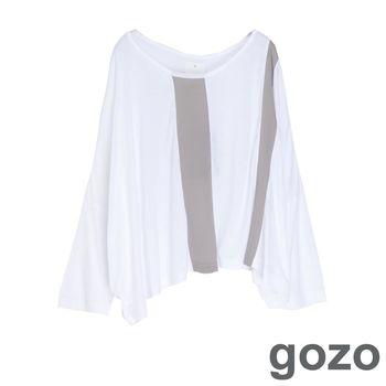 gozo 拼接造型垂墜感蝴蝶袖上衣(白色)
