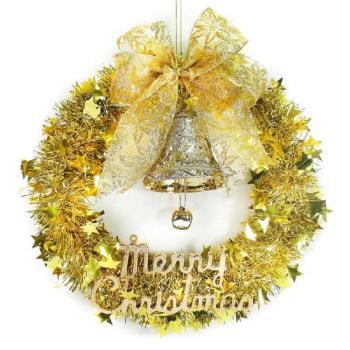 純金系金蔥聖誕星星花圈(14吋)