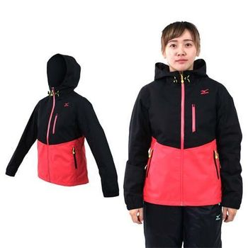 【MIZUNO】女保暖平織外套-防風 防潑水 刷毛 美津濃 黑桃紅