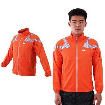 【KAPPA】男單層風衣外套-防風 慢跑 路跑 立領 橘淺灰
