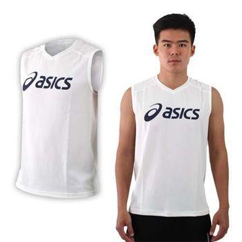 【ASICS】男排羽球背心-排球 羽球 亞瑟士 白丈青