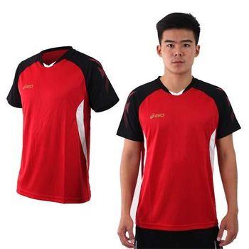 【ASICS】男排羽球短袖T恤-排球 羽球 訓練 亞瑟士 紅黑白