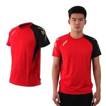 【ASICS】男排羽球短袖T恤-排球 羽球 訓練 亞瑟士 紅黑金