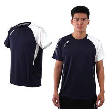 【ASICS】男排羽球短袖T恤-排球 羽球 訓練 亞瑟士 丈青白