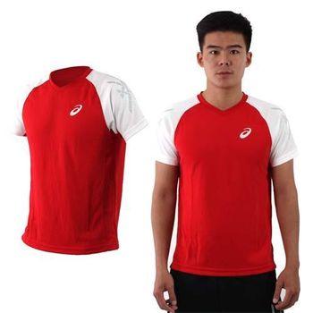 【ASICS】男排羽球短袖T恤-訓練 排球 羽球 亞瑟士 紅白銀