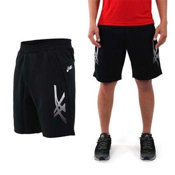【ASICS】男針織短褲-訓練 慢跑 路跑 亞瑟士 黑白銀