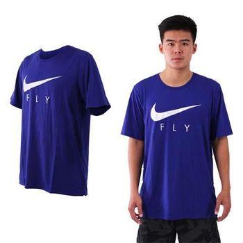 【NIKE】男短袖針織衫-短T T恤 慢跑 路跑 籃球 藍銀