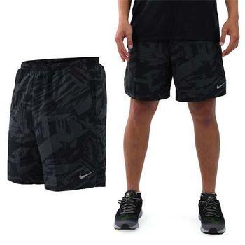 【NIKE】男針織短褲-慢跑 路跑 訓練 五分褲 黑銀