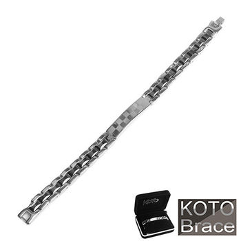 【KOTO】精密陶瓷白鋼黑珠男款手鍊(CS-999A+)