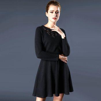 【KVOLL中大尺碼】圓領造型純色素雅洋裝