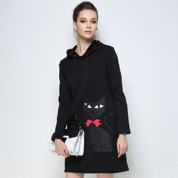 【KVOLL中大尺碼】黑色貓咪連帽休閒連身裙