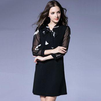 【KVOLL中大尺碼】簡約絲巾領紗袖氣質洋裝