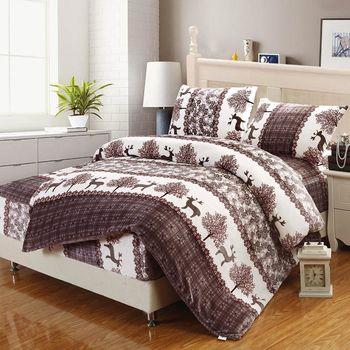 頂級法蘭絨雙人特大床包被套冬包四件套 麋鹿