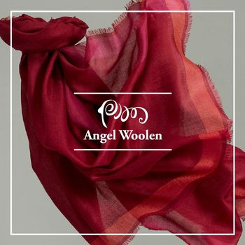 ANGEL WOOLEN 簡約風尚100%Cashmere羊絨披肩 圍巾-紅
