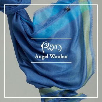 ANGEL WOOLEN 簡約風尚100%Cashmere羊絨披肩 圍巾-藍