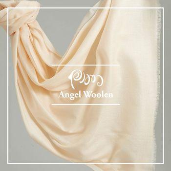 ANGEL WOOLEN 極緻羔羊毛鑽石紋披肩 圍巾-裸白