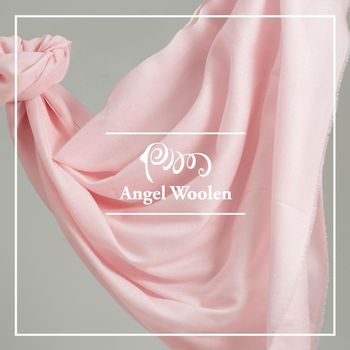 ANGEL WOOLEN 極緻羔羊毛鑽石紋披肩 圍巾-淺粉