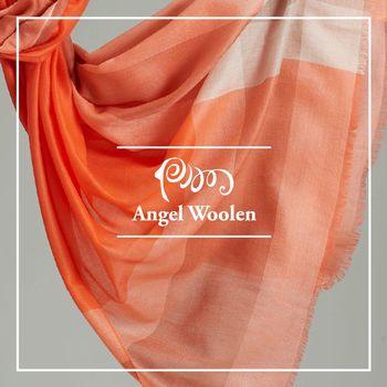 ANGEL WOOLEN 格紋風尚100%Cashmere羊絨披肩 圍巾-橘