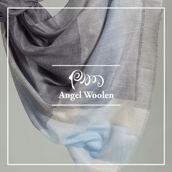 ANGEL WOOLEN 格紋風尚100%Cashmere羊絨披肩 圍巾-藍灰