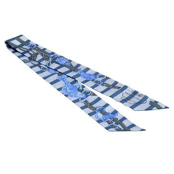 HERMES Brides de Gala條紋腰帶造型Twilly絲巾/領結(海軍藍X松綠)