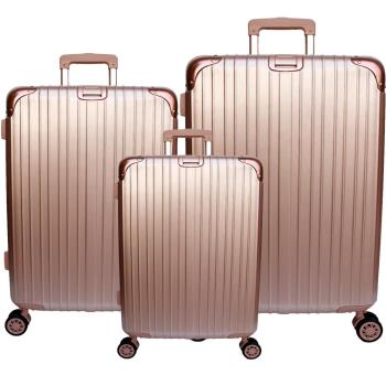 【YC Eason】麗致三件組PC髮絲紋可加大海關鎖行李箱 (20+24+29吋-玫瑰金)