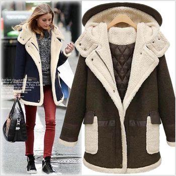(現貨+預購 RN-girls) -歐美秋冬新品中大尺碼連帽加厚寬鬆顯瘦羊羔毛外套
