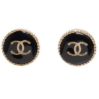 CHANEL 香奈兒經典雙C LOGO刻紋邊飾圓形穿式耳環(黑X金)