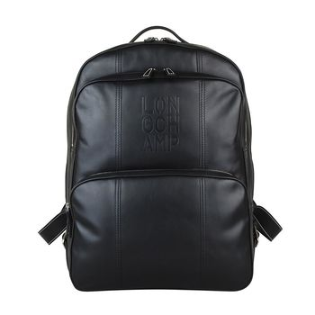 LONGCHAMP Cavalier系列商務男士皮革後背包(黑)