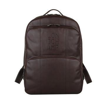 LONGCHAMP Cavalier系列商務男士皮革後背包(咖啡)