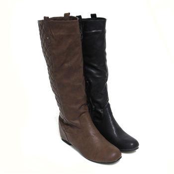 【Pretty】素雅菱格紋側拉鍊內增高長靴-黑色、咖啡色