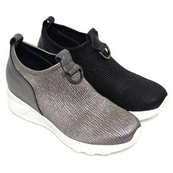 【GREEN PHOENIX】BIS-VITAL 抗皺直條紋金屬半圓扣環套入式厚底休閒鞋-古銅色、黑色